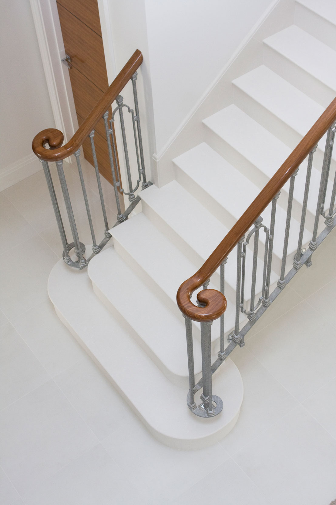 Marbonyx Steel Banister White Granite Staircase Arial View