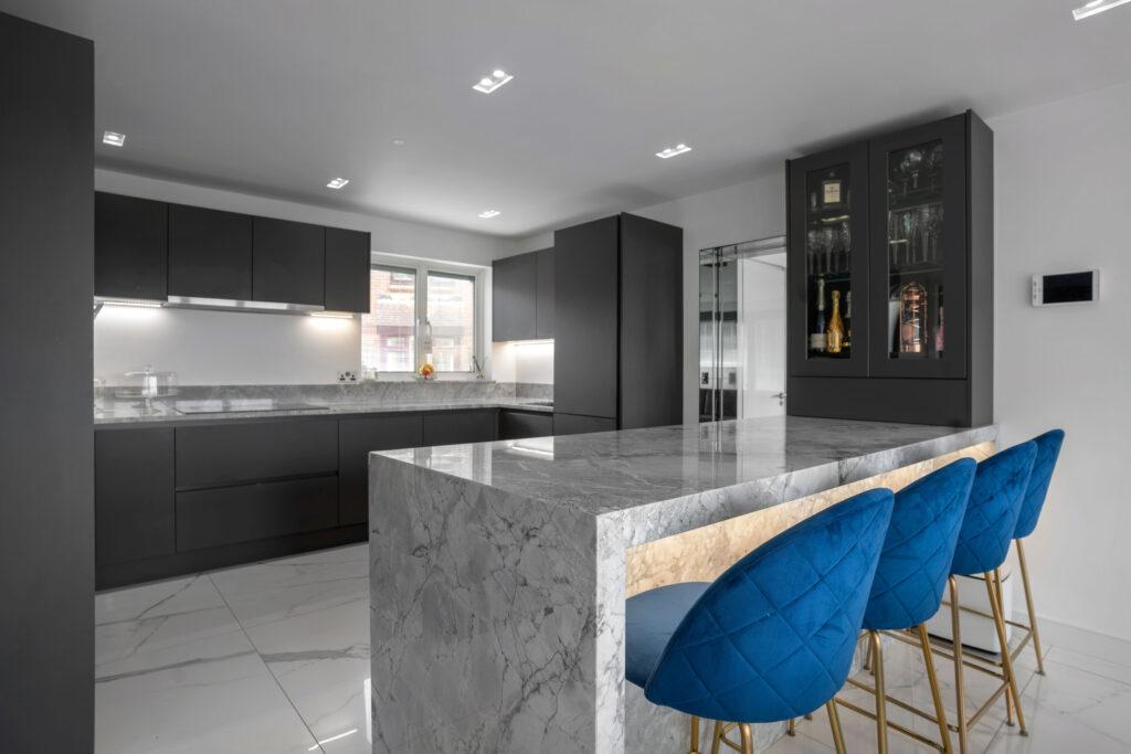 Grey modern kitchen worktop